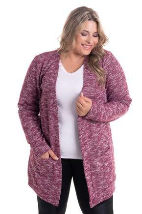 2522 4 casaco aberto com bolsos em malha tricot plus size