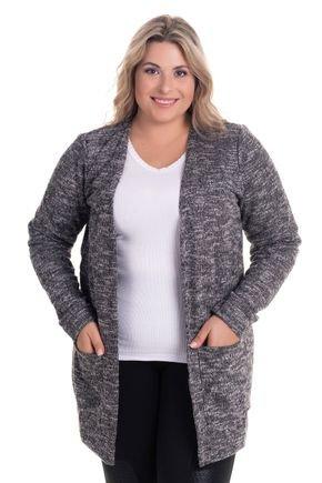 2522 6 casaco aberto com bolsos em malha tricot plus size
