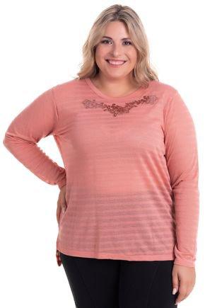 2524 1 blusa feminina decote redondo com abertura lateral em malha bionda plus size