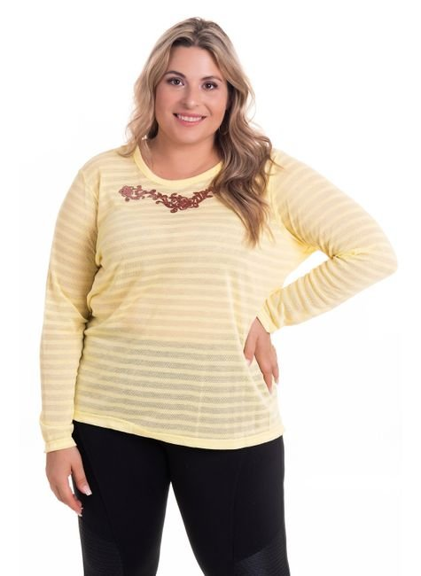 2524 4 blusa feminina decote redondo com abertura lateral em malha bionda plus size