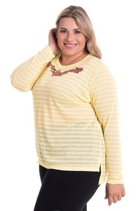 2524 5 blusa feminina decote redondo com abertura lateral em malha bionda plus size