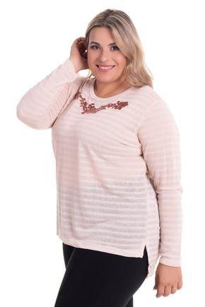 2524 8 blusa feminina decote redondo com abertura lateral em malha bionda plus size