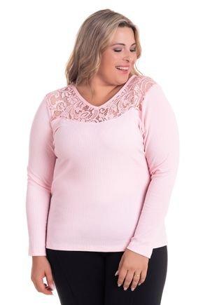 2527 2 blusa feminina em malha canelada plus size