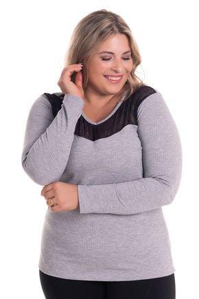 2527 4 blusa feminina em malha canelada plus size