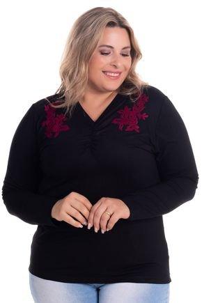 2529 3 blusa feminina em visco com aplique plus size
