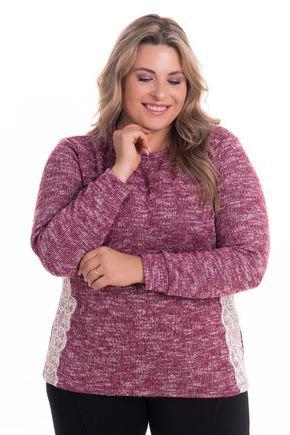 2530 4 blusa em malha tricot c detalhe em renda plus size