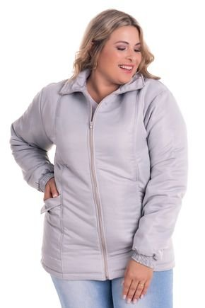 2532 2 jaqueta feminina em microfibra com forro e fibra plus size