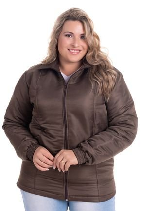 2532 4 jaqueta feminina em microfibra com forro e fibra plus size