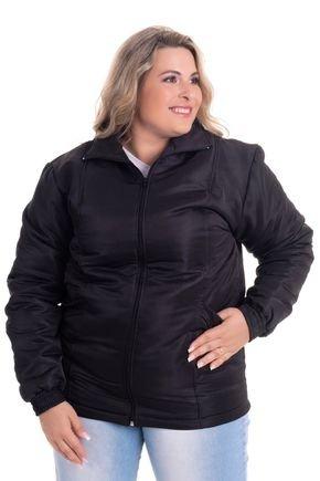 2532 6 jaqueta feminina em microfibra com forro e fibra plus size