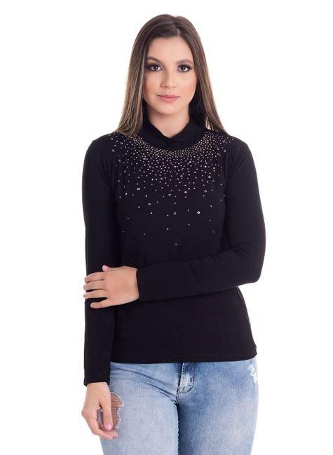 2449 6 blusa feminina gola alta com strass 0