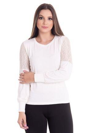 2441 5 blusa feminina decote redondo em visco com mangas balone em renda 0