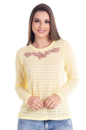2442 4 blusa feminina decote redondo com abertura lateral em malha bionda 0