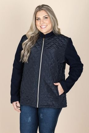 2521 casaco plus size marinho