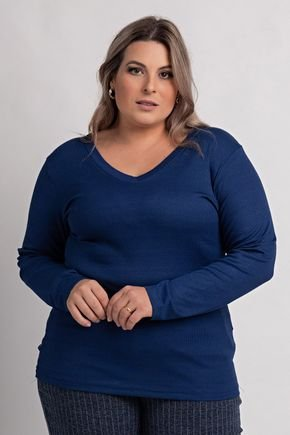 2155 blusa feminina plus size ribana canelada gola v ki beleza