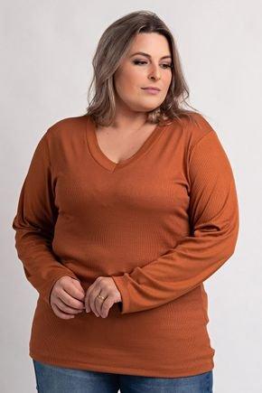 2155 blusa feminina plus size ribana canelada gola v ki beleza 7