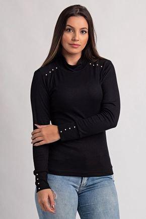 2113 blusa feminina gola alta ribana canela perolas ki beleza 2